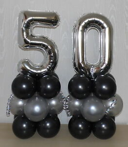 Image Is Loading 50th BIRTHDAY AGE 50 SILVER FOIL BALLOON DISPLAY