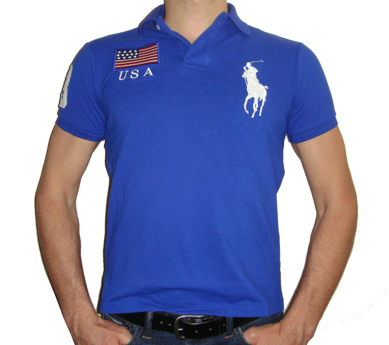 Polo Ralph Lauren Herren Modern Geschnitten USA Flagge, Polo T-Shirt 100% Cotton  | Langfristiger Ruf