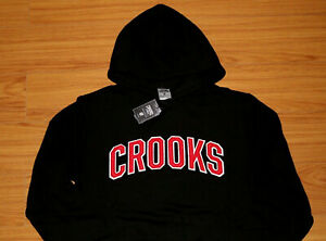 Crooks-and-Castles-Black-Red-Patch-Sweatshirt-Pullover-Hoodie-Brand-New-In-Bag