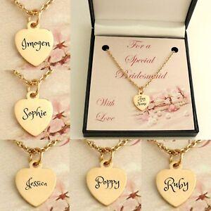 Oro Rosa Nombre Collares Para Damas de Honor & Honor, Boda Thank You Regalos
