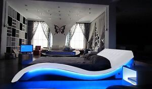 Modern White Leather Upholstered Bed with LED Lights / NEW