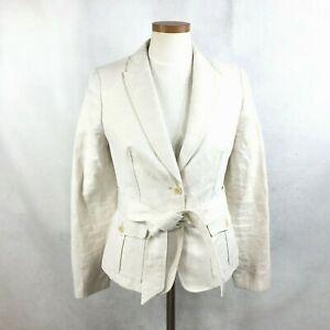 Banana Republic Womens Solid Beige Cotton & Linen Blazer Jacket w/ Belt sz 4
