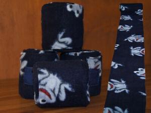 Bandagen-Polarfleece-Antipilling-Fleece-Pferd-4er-Set-Fleecebandagen-Navy