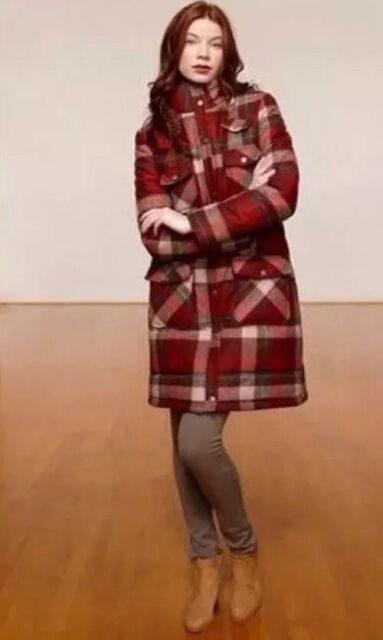 Ladies $300 Pendleton Wool Insulated Coat Plaid Size Small Orange & Brown EUC