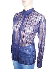VERSACE Ladie Vtg 90s Blue Evening Fashion Sexy Lace Sheer Blouse Shirt sz M Y54