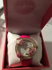 $125 Betsey Johnson Fuchsia Leather Cupcake Watch. B24