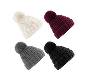 Lange Beanie mit Kunstfellbommel 3 Farben Mütze Mützen Wintermütze