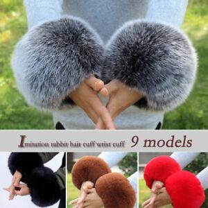 Raccoon-Fur-Windproof-Plush-Cuff-Oversleeve-Wrist-Gloves-Sleeve-Wristband-Winter