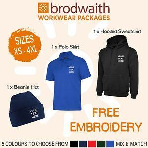 Personalised Embroidered Workwear Package Hooded Sweatshirt Polo Shirt Beanie