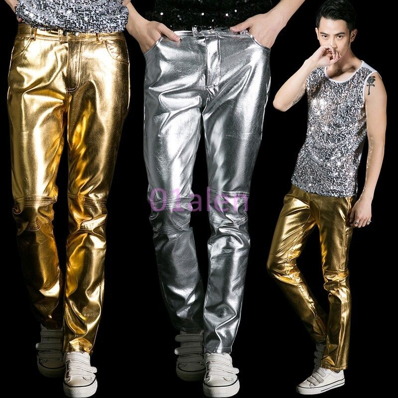 HOT Mens Casual Long Pants Singer Dance NightClub Party Trousers Sequin Show New
