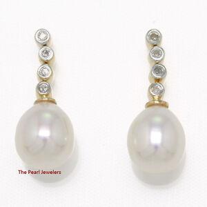 14k-Yellow-Gold-amp-Diamonds-Genuine-White-Cultured-Pearl-Dangle-Earrings-TPJ