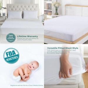 100/%Cotton Quiet Waterproof Mattress Pad Mattress Protector Hypoallergenic Queen