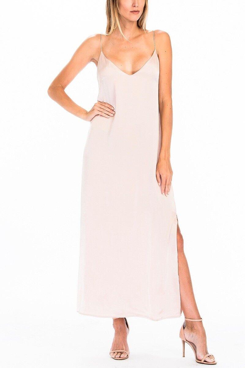 Olivaceous bluesh Satin Slip Maxi Dress