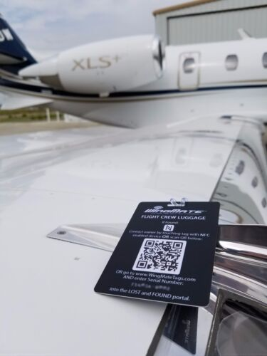 Smart NFC Luggage Tag with Geolocation web app Pilot Supplies. Crew Gear