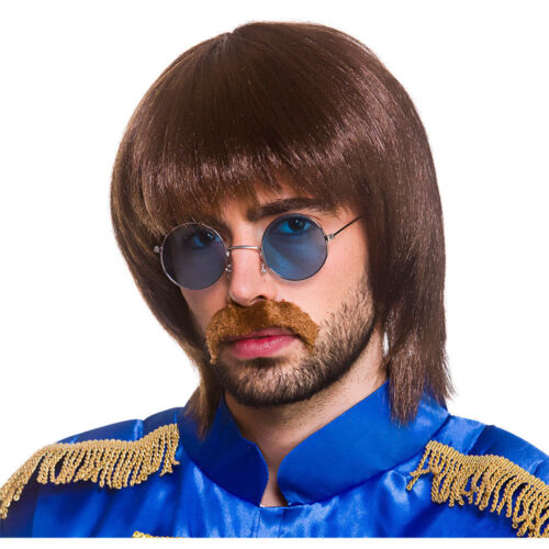 Adult POP BAND Wig Glasses Moustache Kit 1960s 60s Brown Beatles Groovy Star Boy