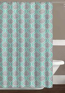 Image Is Loading C H D Home Turquoise Grey White Fabric Shower Curtain