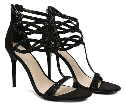 £70 ALDO UNIEDDA SIZE 8 41 BLACK DIAMANTE HIGH HEEL T BAR STRAPPY SANDALS SHOES