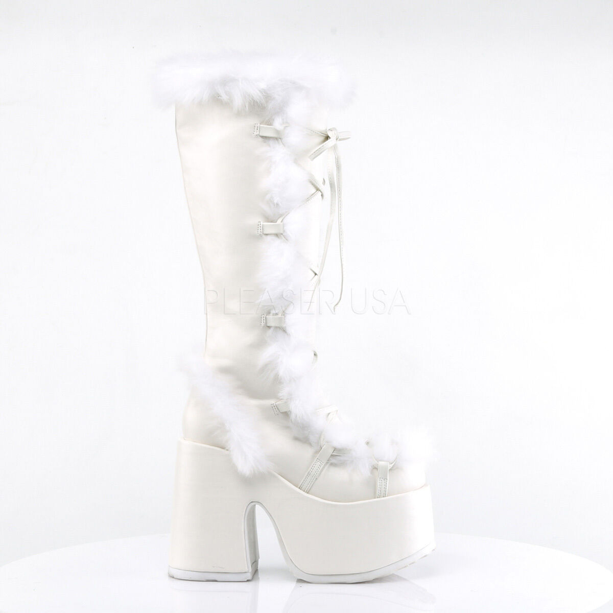 Huge Demonia 5  Platform White Suede Fur Knee Boots Glam Gothic Goth Club 6-12
