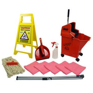 Lady Bug Mop Bucket on Wheels Floor Cleaning Starter Kit Mop Handle SYR BLUE