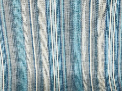 Indigo striped patterned curtain fabric//material BR034 New Blue