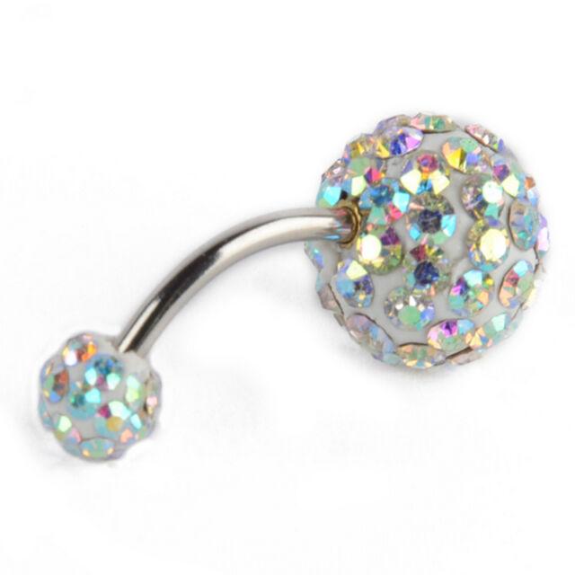 Crystal Rhinestone Ball Navel Dangle Button Belly Ring Bar Body Piercing Jewelry
