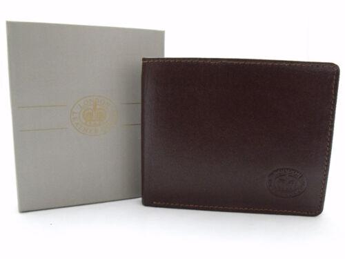 MENS DESIGNER PREMIUM SUPER SOFT BROWN LEATHER WALLET CREDIT CARD HOLDER BOXED