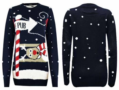 New Unisex Mens Ladies  Christmas Novelty Jumper Rudolph To the Pub Sweater
