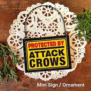 Mini-Sign-Wood-Ornament-Protected-by-Attack-Crows-Birds-Gag-Gift-USA-New