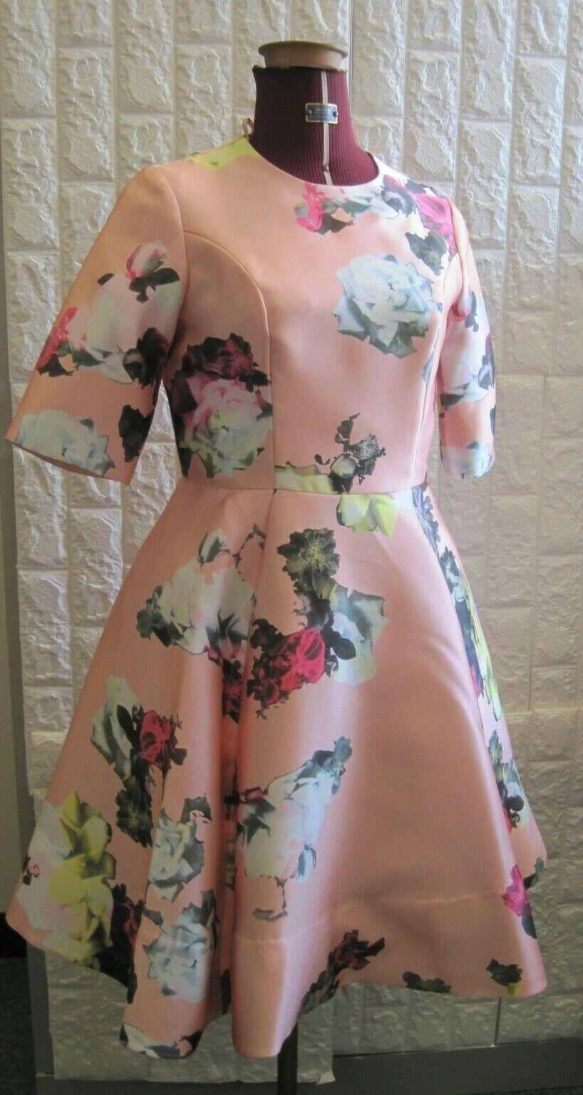 Dress Silk Pink UK10 Wedding Short Sleeve with Netted Skirt New York Tsnius