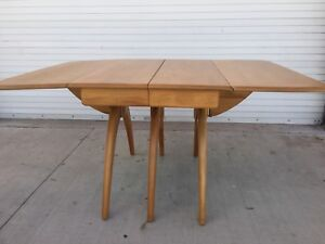 Details About HEYWOOD WAKEFIELD BUTTERFLY DROP LEAF WISHBONE DINING TABLE  REFINISHED