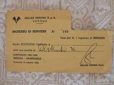 UC. SAMPDORIA CALCIO HELLAS VERONA 1985/86 BIGLIETTO INGRESSO STADIO SERVIZIO