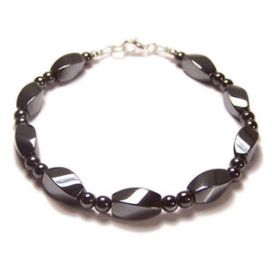 Sterling-silver-magnetic-Hematite-bracelet-Unisex-Twist-design-grey-gemstone-gem