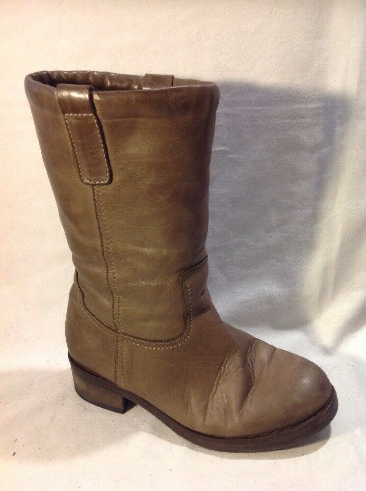 Carvela Brown Mid Calf Leather Boots Size 38