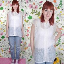 VINTAGE 90's White Leaf Print Sheer Sleeveless Shirt Blouse Top L 14 Grunge