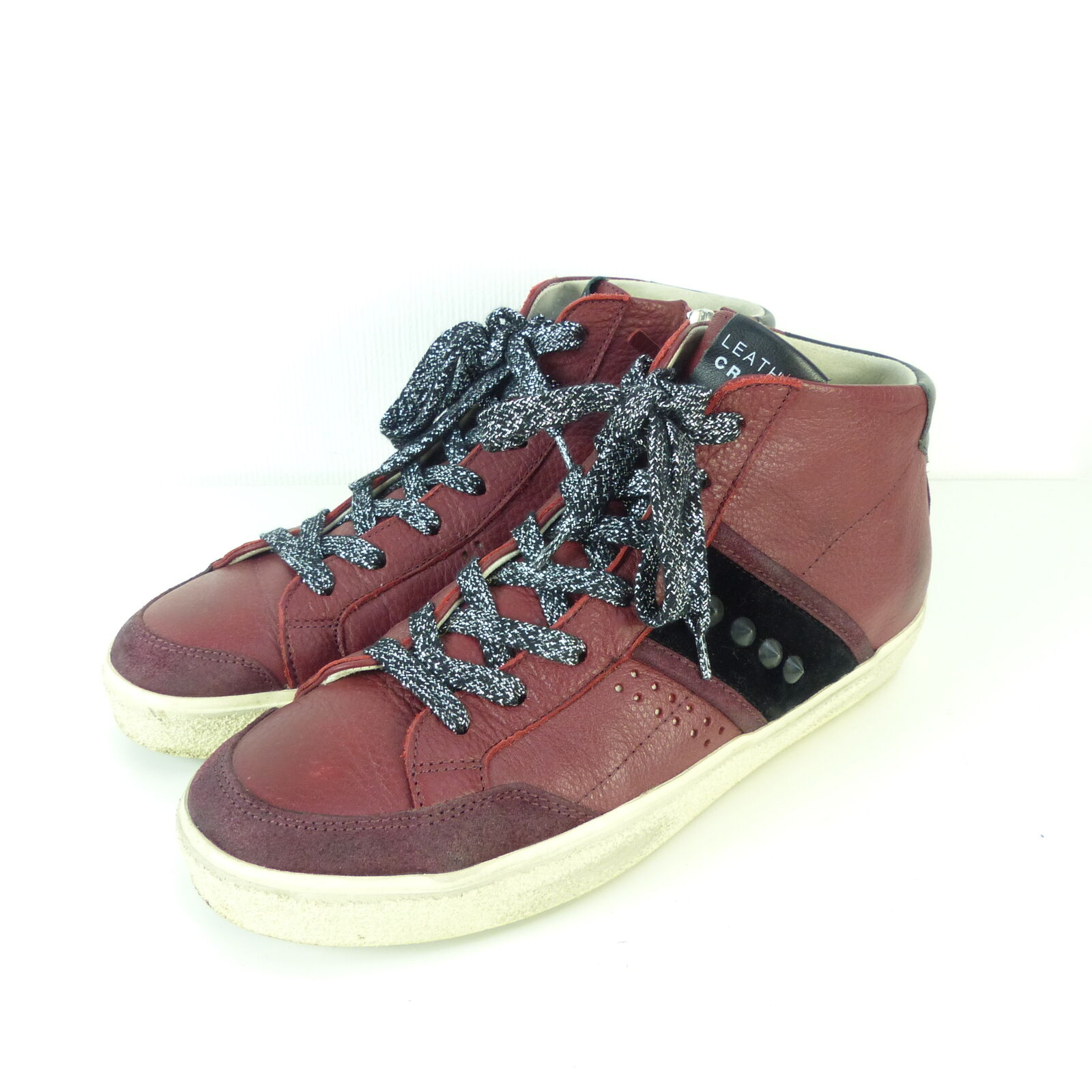 LEATHER CROWN Sneaker High Top Nieten Leder Rot Schwarz Gr. EUR 39 (H59)