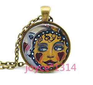 Sun and Moon Cabochon Tibetan silver Glass Chain Pendant Necklace #5127