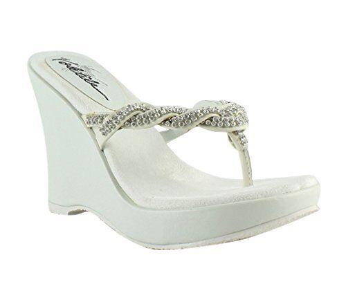 2766b04b222 Very VOLATILE Womens Bridal White Wedge Sandals Size 5