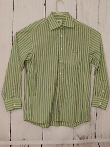Lacoste-Button-Down-Long-Sleeve-Shirt-Mens-Size-44-Green-Striped