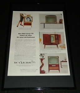 1955-RCA-Victor-TV-Television-Framed-ORIGINAL-11x17-Advertising-Display-B