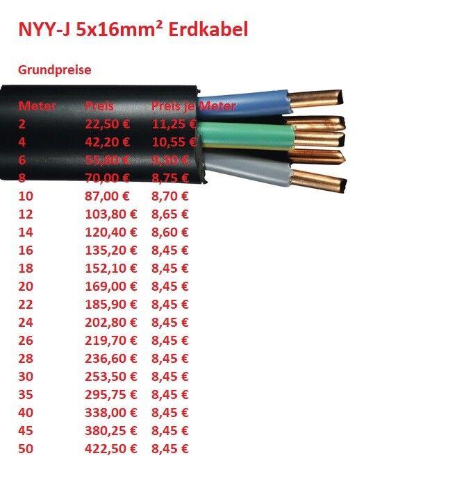 NYY-J 5x16 mm² Erdkabel Stromkabel (ab 2 meter abgemessen)   FLEXIBEL