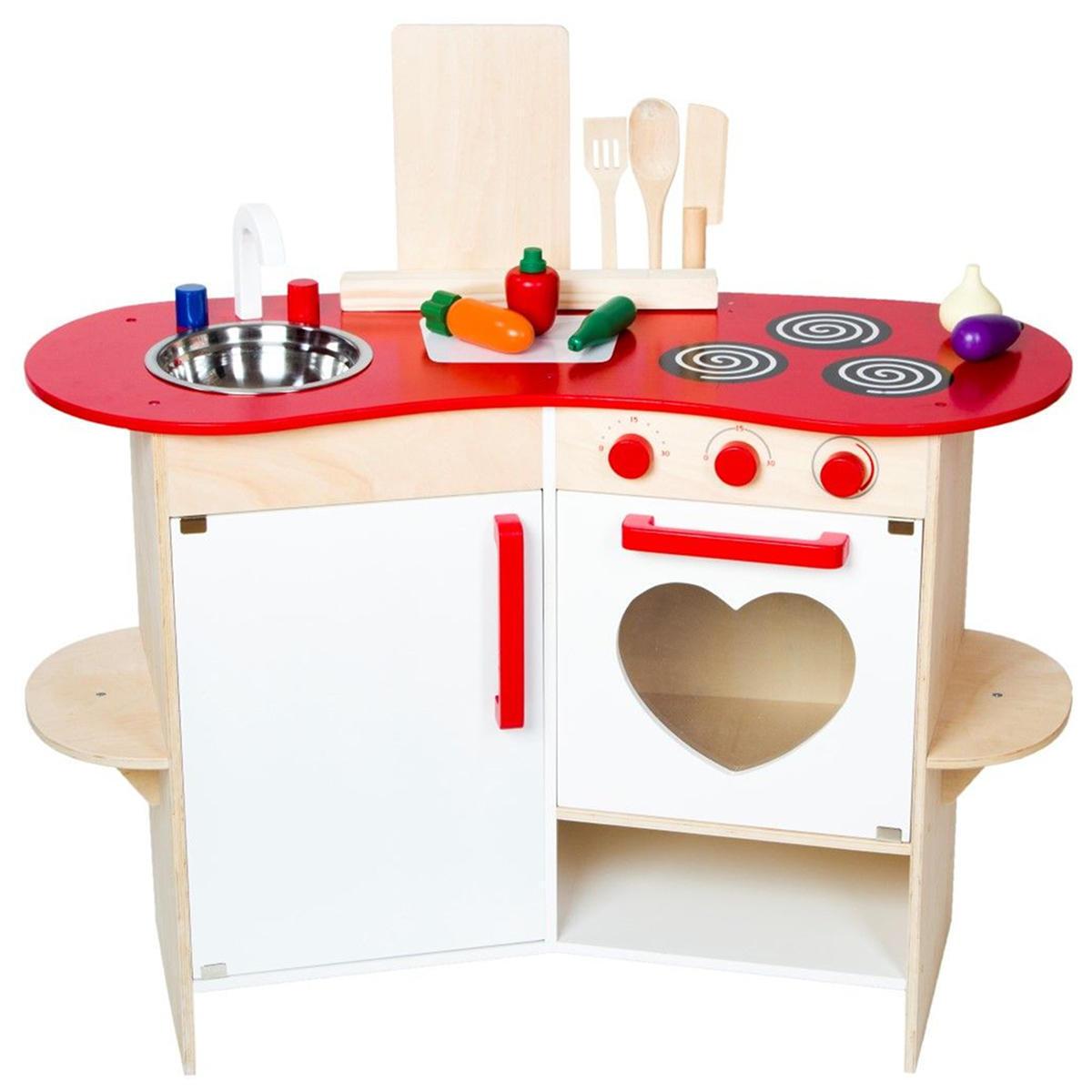 Kinderküche aus Holz Spielküche Kochen Kinder Spielzeug Holzküche weiß rot Herz