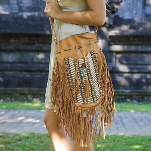 Image Is Loading Genuine Leather Bag Native American Style Bohemian Vintage
