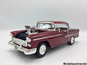CHEVROLET-BEL-AIR-CHEVY-TUNING-1955-Metallic-Rouge-1-18-MotorMax