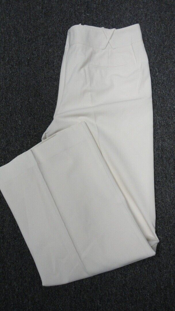 ST. JOHN Off White Straight Leg Solid Casual Pleated Pants Sz 12 GG4692