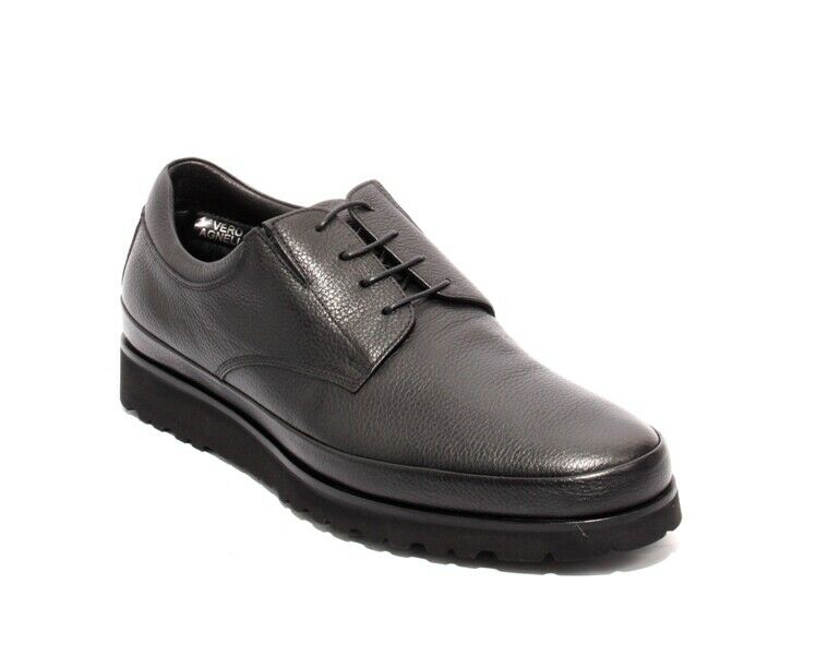 Luigi Traini 57656 Black Leather Lace-Up Elastic Shearling Fur Shoes 45 / US 12