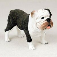 Bulldog Figurine Dog Hand Painted Resin Statue Brindle Puppy Collectible
