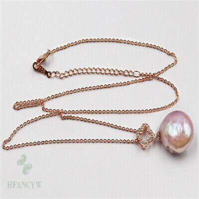 15-22mm Pink Baroque Pearl Pendant Jewelry Necklace Luxury Charm Woman