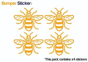 Manchester-Bee-x4-Bumper-Car-ipad-Stickers-YELLOW-HIGH-QUALITY-VINYL-DECAL