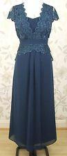 BNWT Jacques Vert Petite Lace & Chiffon Long Maxi Evening Dress Size 12 RRP £229