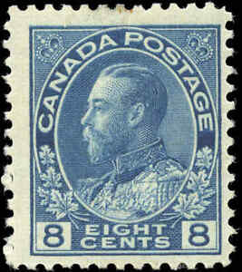 Mint-H-Canada-8c-1925-F-Scott-115-King-George-V-Admiral-Issue-Stamp